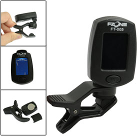 LCD Digital Display Angle Adjustable Violin Clip on Tuner Black