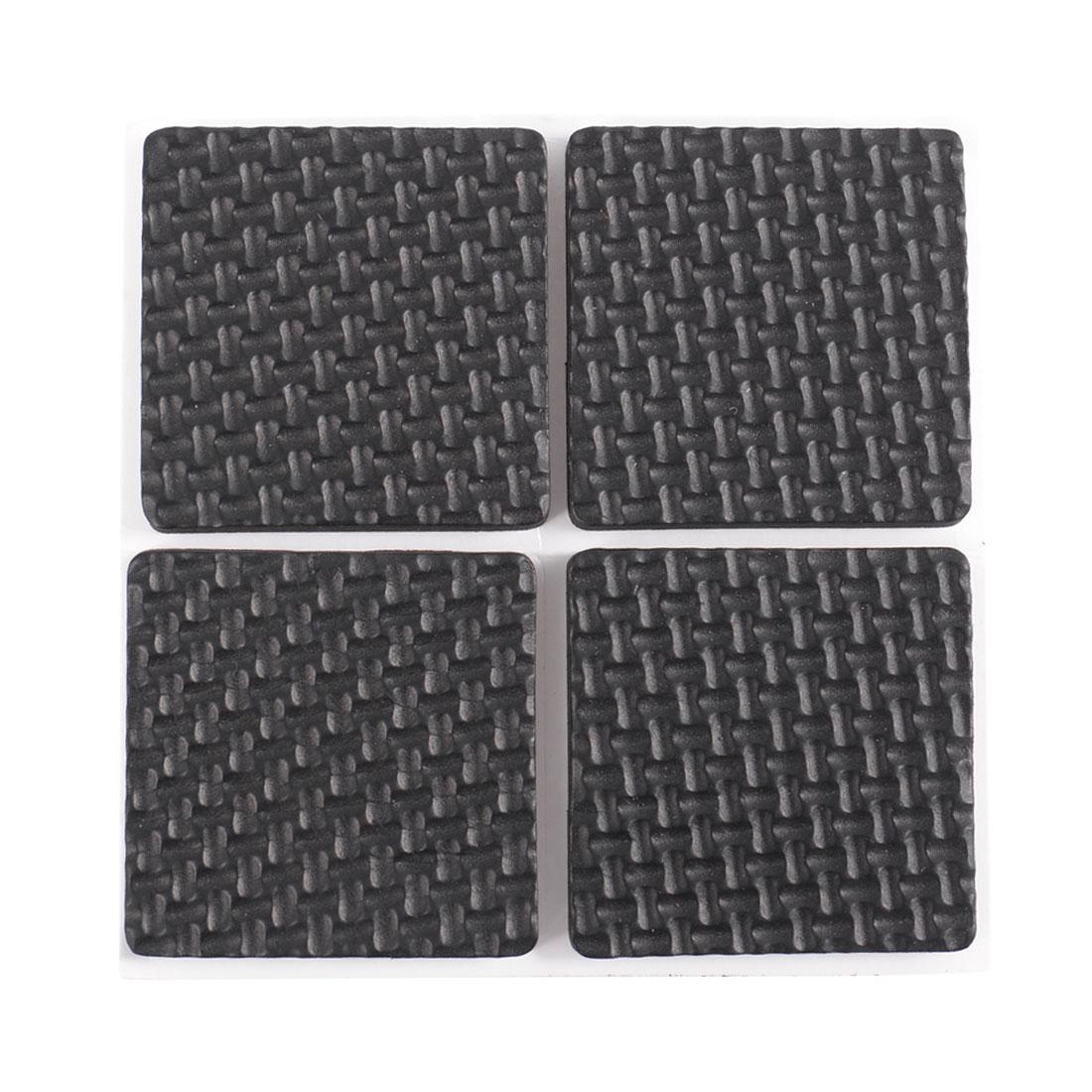 4 Pcs Square Shaped Black Nonslip Foam Adhesive Pad Mat for Furniture