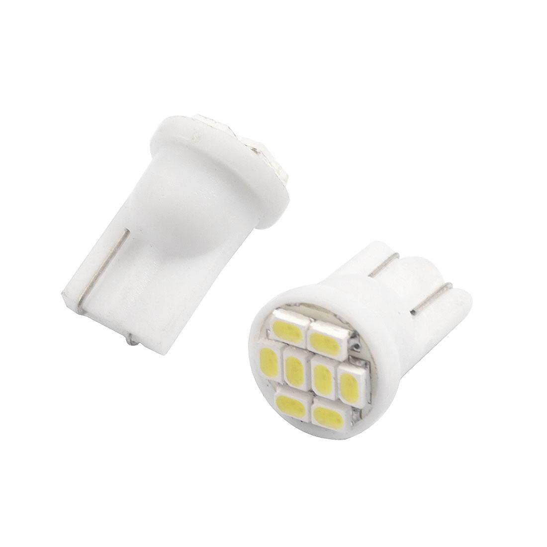 2 Pcs T10 8 SMD 1206 LED Car White Lamp Side Wedge Light Bulbs