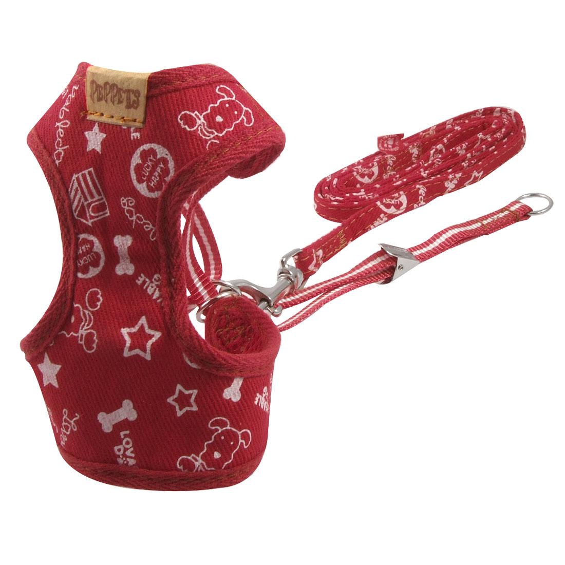 Bone Stars Letters Printed Red Nylon Sponge Dog Cat Pet Harness Vest Size 2 w Leash