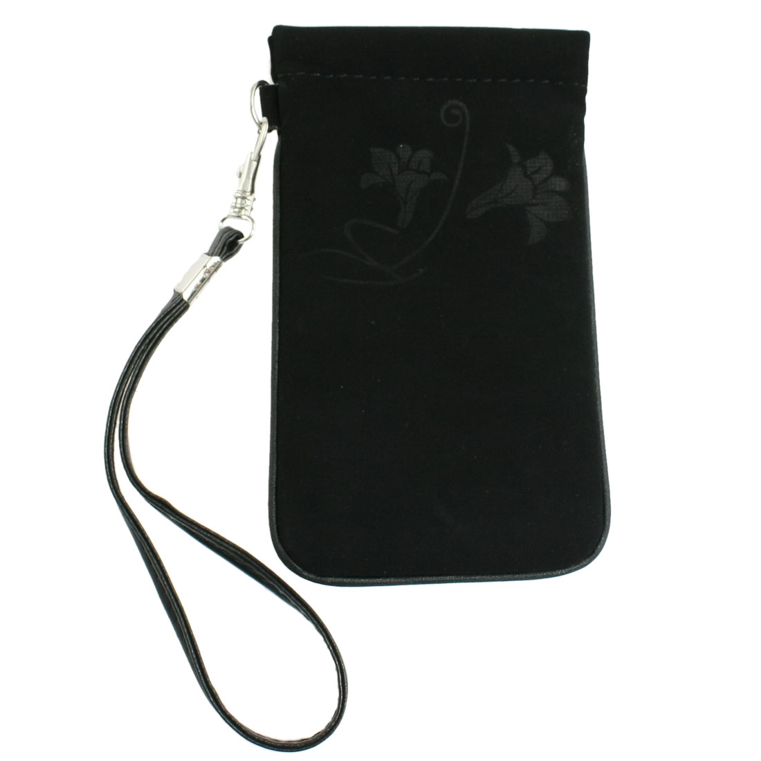 Black Edge Flowers Pattern Bag w Wrist Strap for Mobile Phone