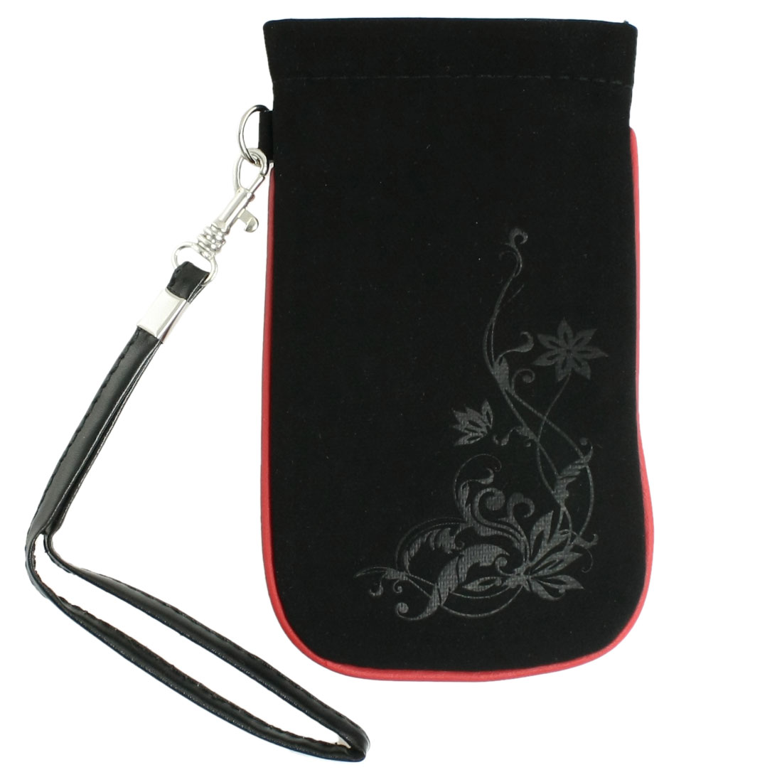 Red Edge Flower Pattern Black Faux Suede Bag w Wrist Strap for Mobile Phone