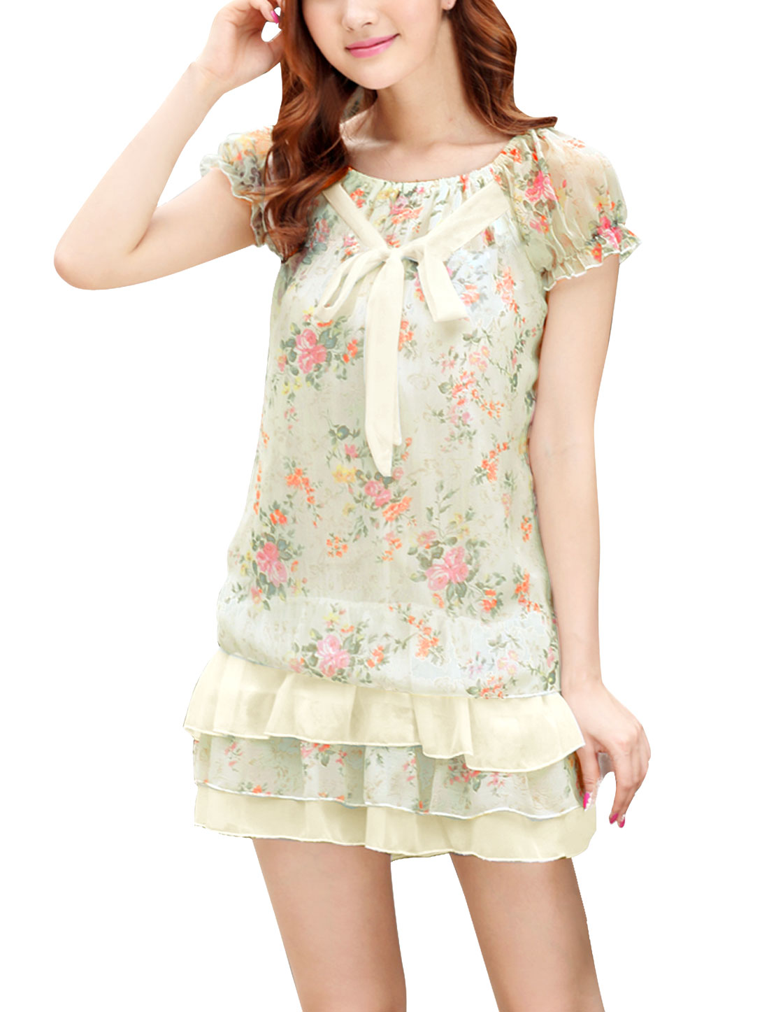 Ladies Boat Neck Puff Sleeve Floral Prints Ruffled Dress Beige XS