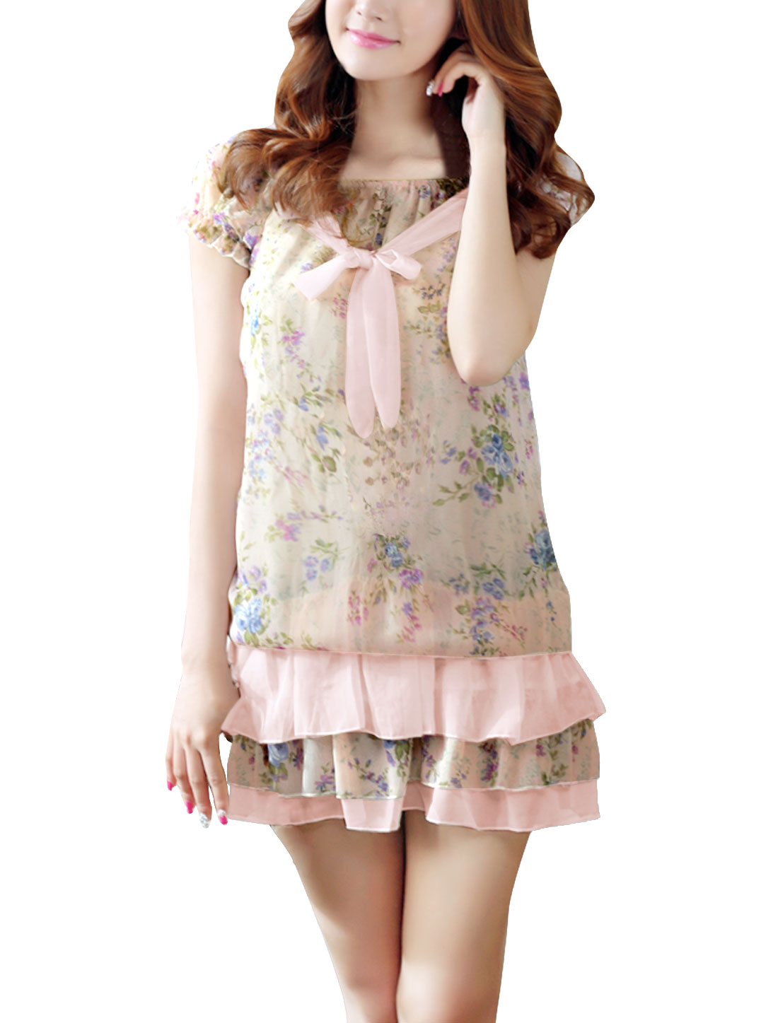 Lady Floral Prints Elastic Top Flouncing Hem Dress Light Pink XS