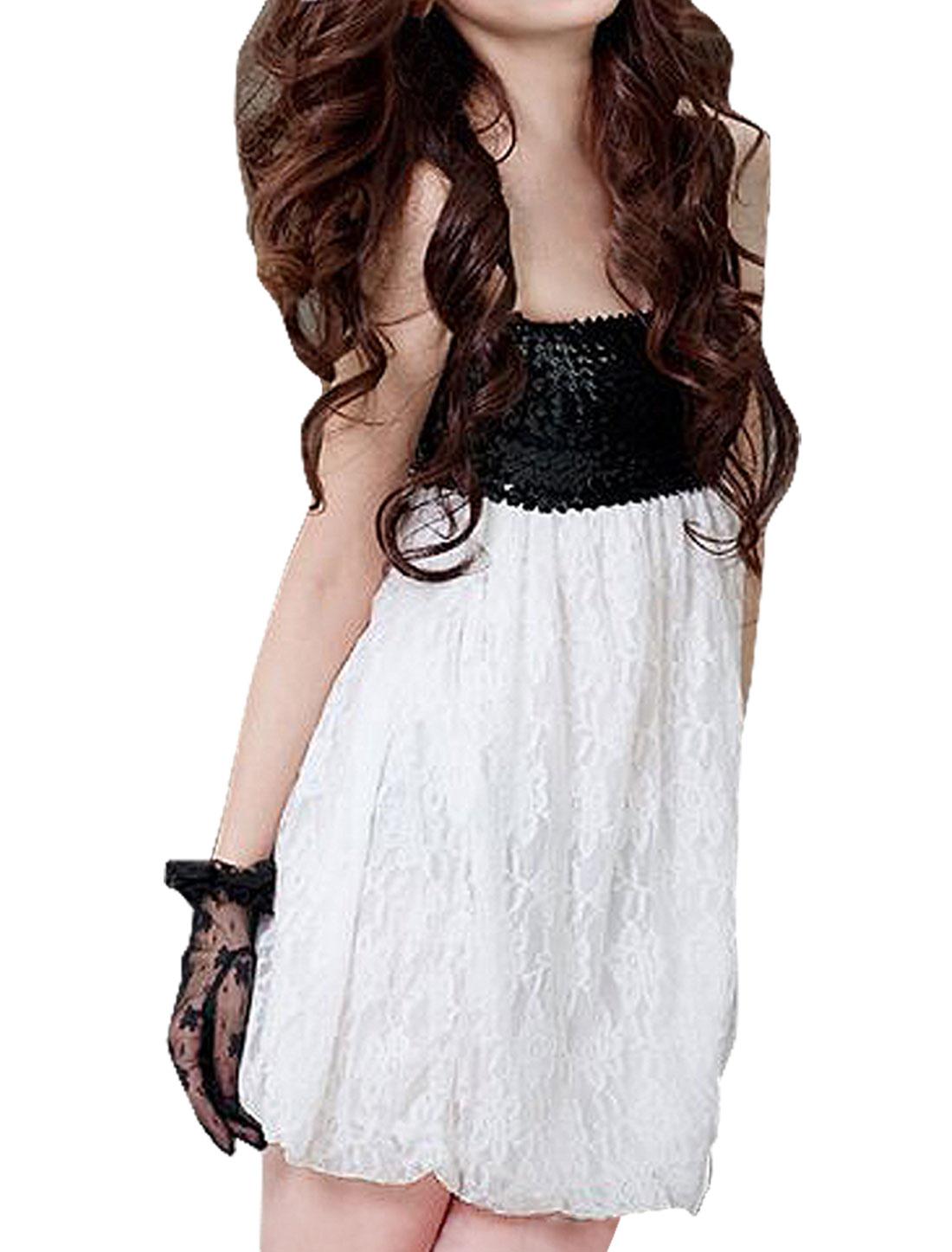 Ladies Strapless Sequin Upper Elastic Top Semi Sheer Dress White XS