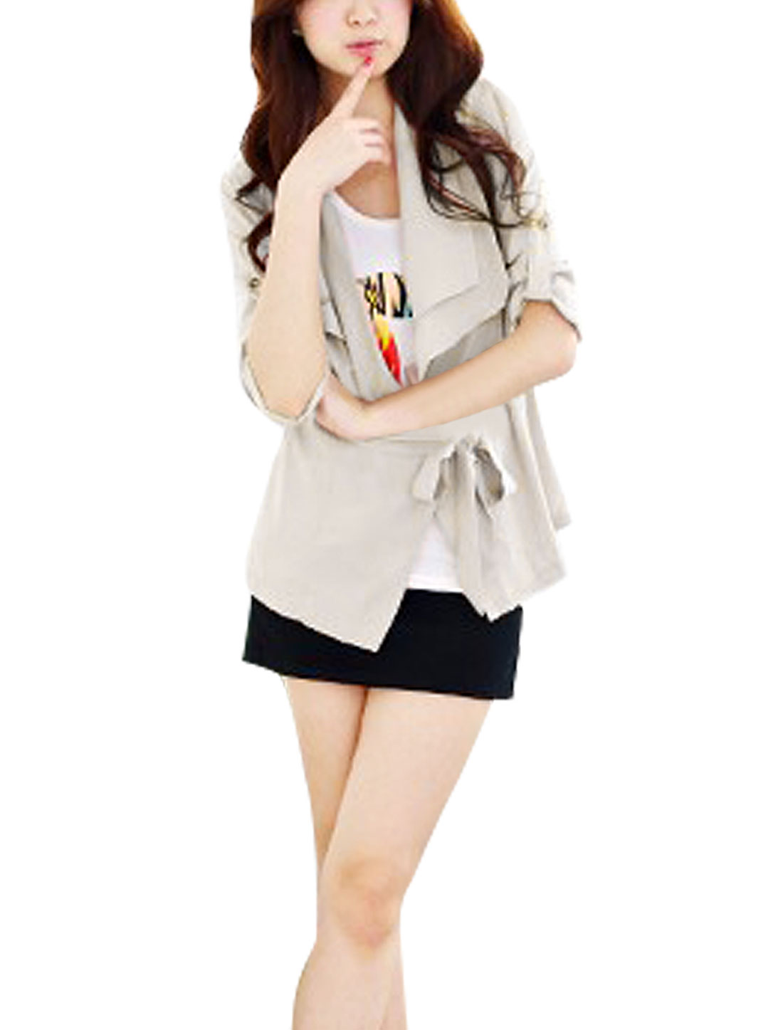 Lady Beige Rolled Up Sleeve Shawl Collar Front Openning Blazer S