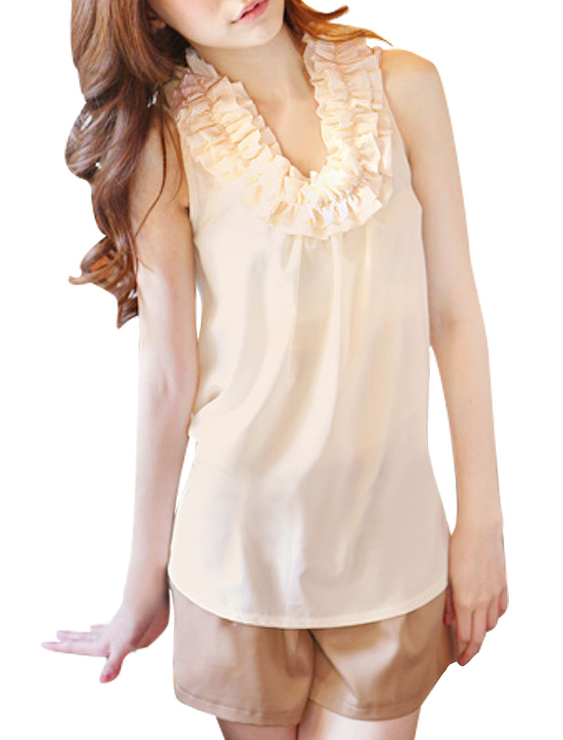Women Scoop Neck Sleeveless Ruffled Chiffon Top Beige S