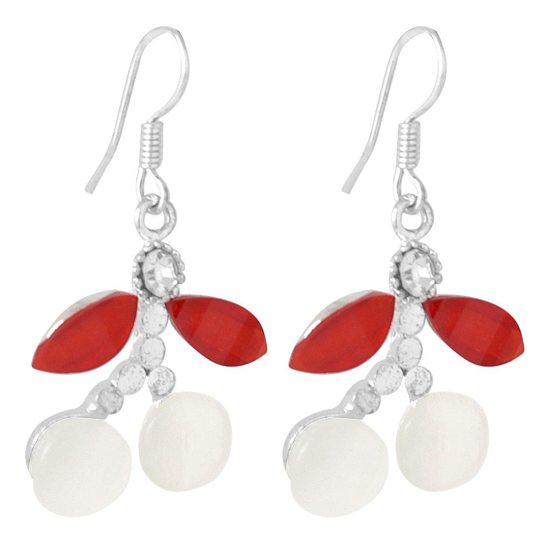 Women Plastic Red Leaf Jade Pendant Silver Tone Fish Hook Earrings