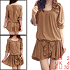 Fashion Sweet Women Sleeves Loose Chiffon Ruffle Bowknot Mini Dress Khaki XS