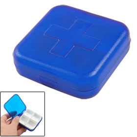 Clear Blue Plastic 4 Sector Capsules Pill Organizer Box Case