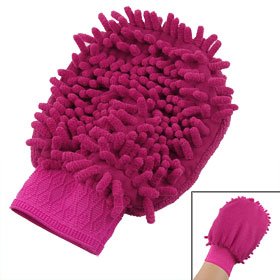 Car Vehicle Table Fuchsia Elastic Cuff Mitt Glove Cleaning Tool