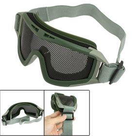 Airsoft War Game Black Metal Mesh Uni Lens Elastic Strap Goggle Olive Green