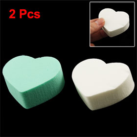 2 Pcs Makeup Remover Green White Heart Shape Cotton Pads for Ladies