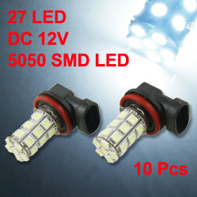 10 Pcs H11 27 5050 SMD LED White Fog Light Bulb Replacement for Car Auto