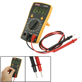 Yellow Back Stand Design Handy AC DC Multimeter w 2 Test Leads