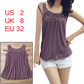 Scoop Neck Two Straps Purple Tank Shirt XS for Ladies