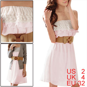 Woman Strapless Pink Mini Chiffon Dress XS w a Stretchy Waist Belt