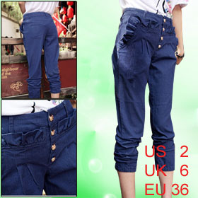 Women Blue Flouncing Decor Slant Pockets Elastic Cuff Relaxed Jeans S