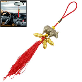 Handcraft Red Knitted Knot Gold Tone Peanut Cattle Pendant