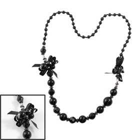 Women Black Faux Beads Crystal Decor Necklace for Clothes