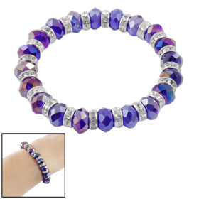 Women Rhinestone Inlaid Faux Purple Faceted Crystal Elastic Bracelet