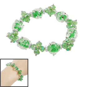 Women Elastic Faux Crystal Beaded Night Light Bracelet Clear Green