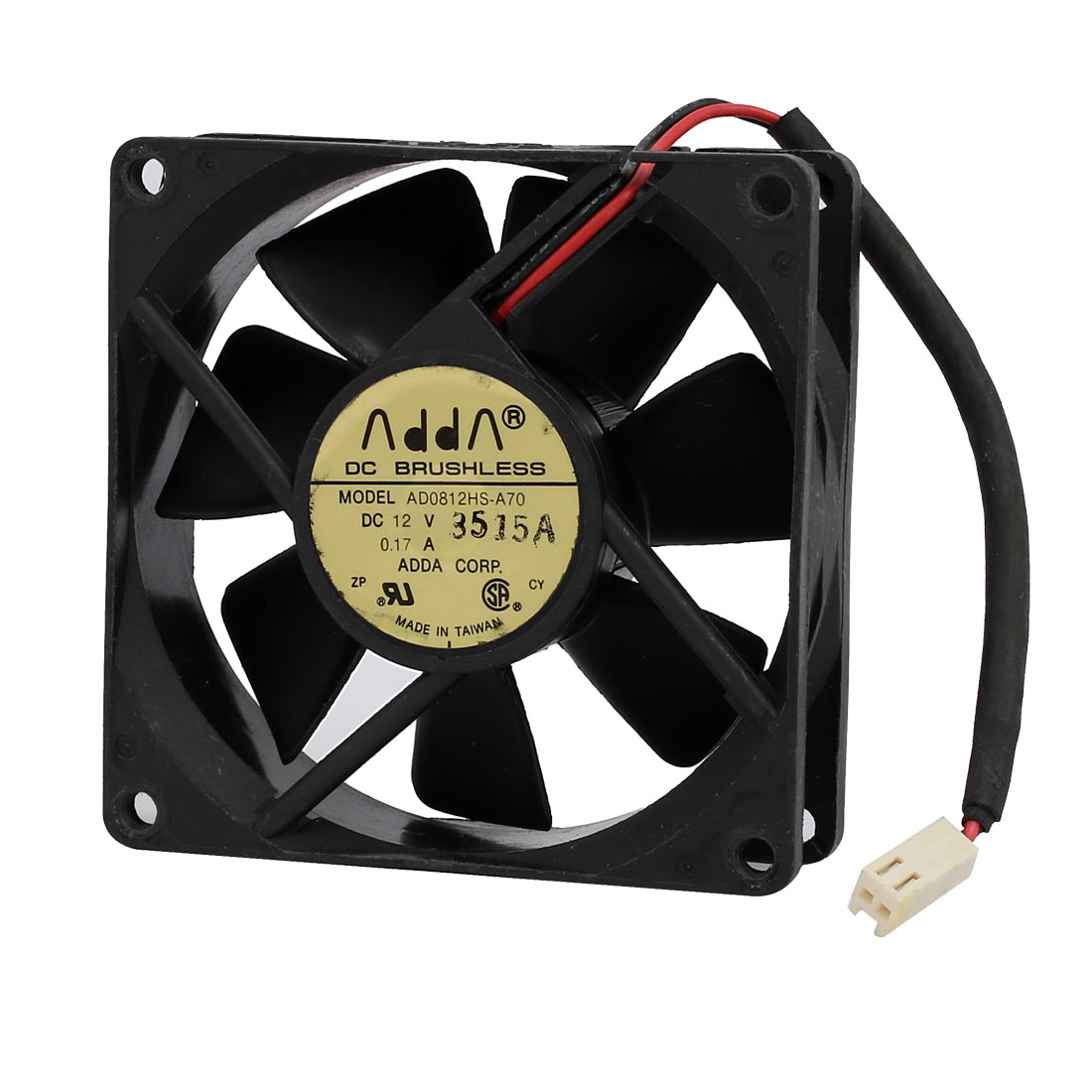 DC 12V 0.17A 80mm x 80mm x 25mm Black 7 Vanes Brushless Cooling Fan
