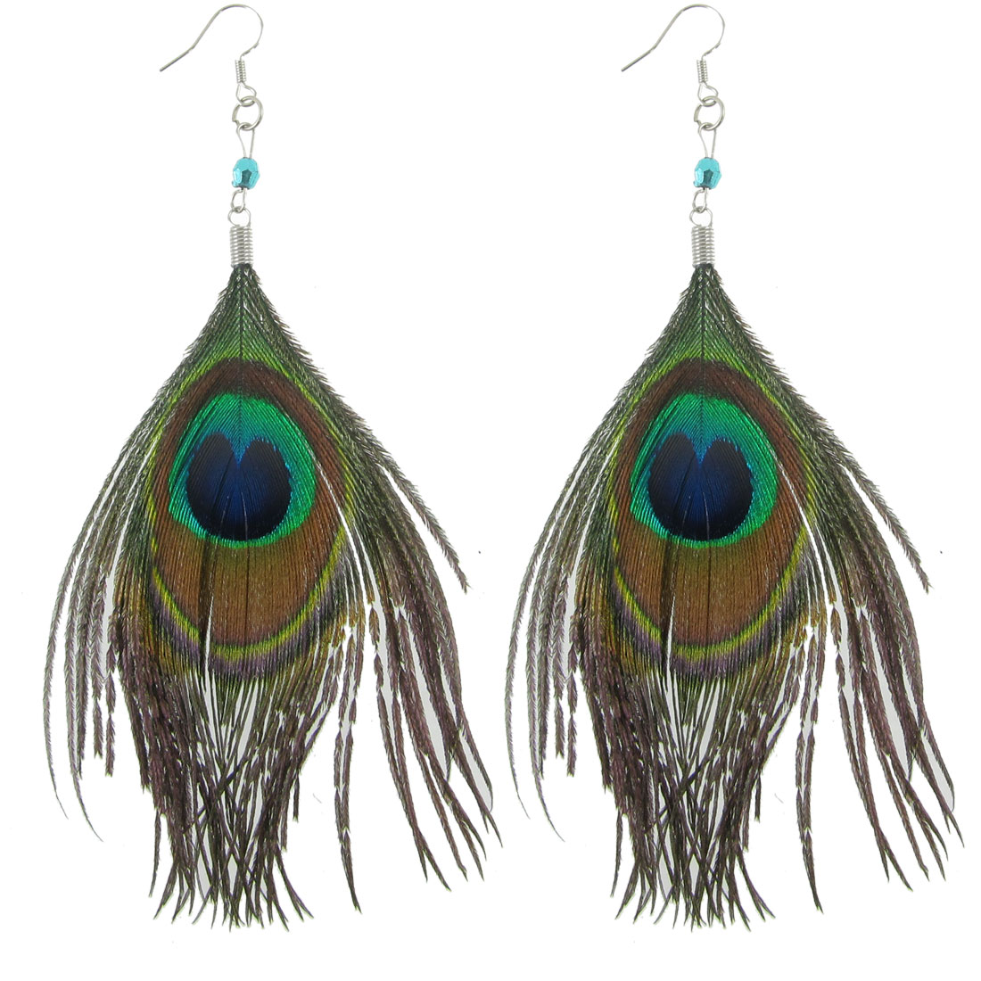 Lady Pair Coffee Color Shiny Peacock Feather Pendant Pierced Fish Hook Earrings