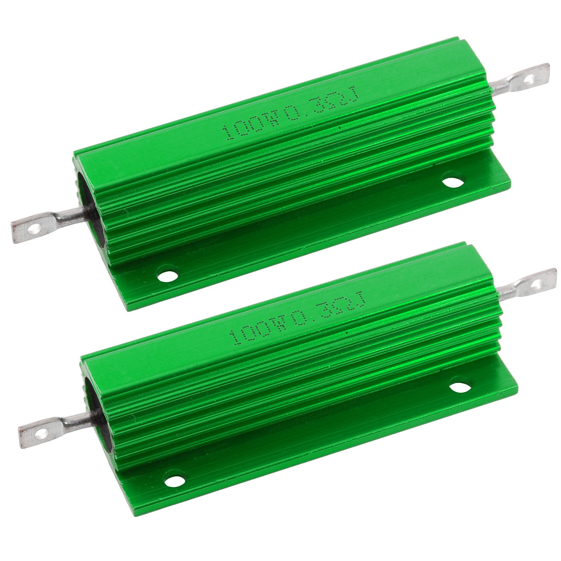 2 Pcs Green 100 Watt 0.3 Ohm 5% Aluminum Shell Wire Wound Resistors