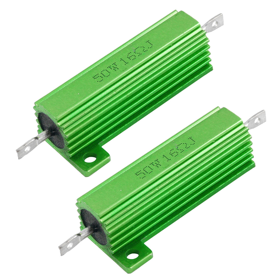 2 Pcs Chassis Mount Green Wirewound Aluminium Housed Resistor 50W 16 Ohm