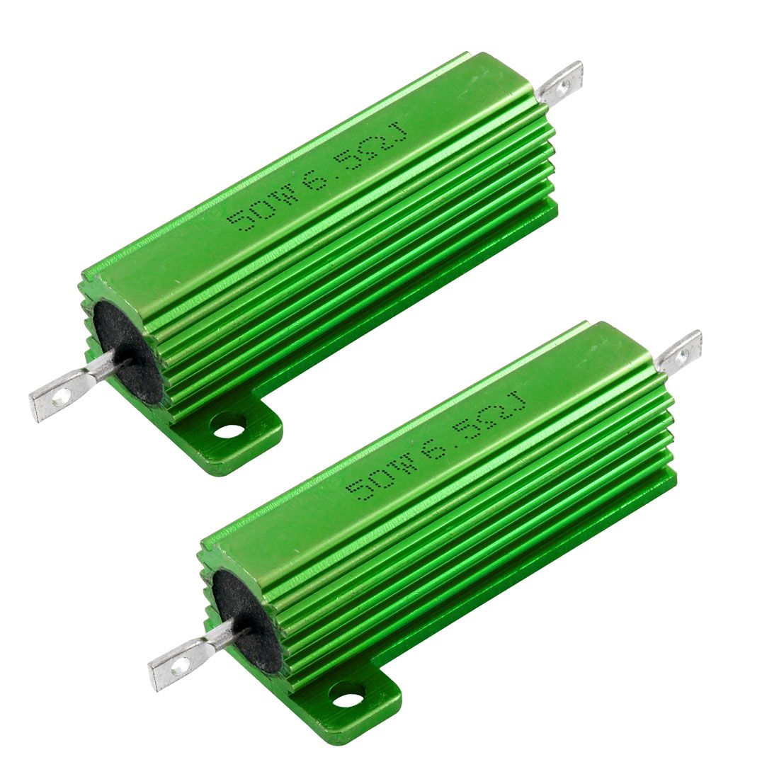 50W 6.5 Ohm Green Aluminum Housed Wirewound Resistors 2 Pcs