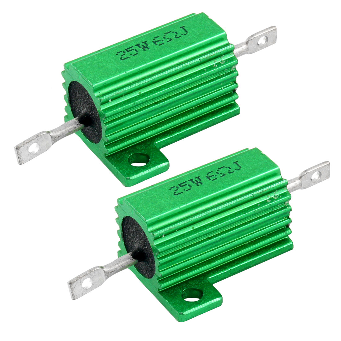 25W 6 Ohm Green Aluminum Housed Wirewound Resistors 2 Pcs