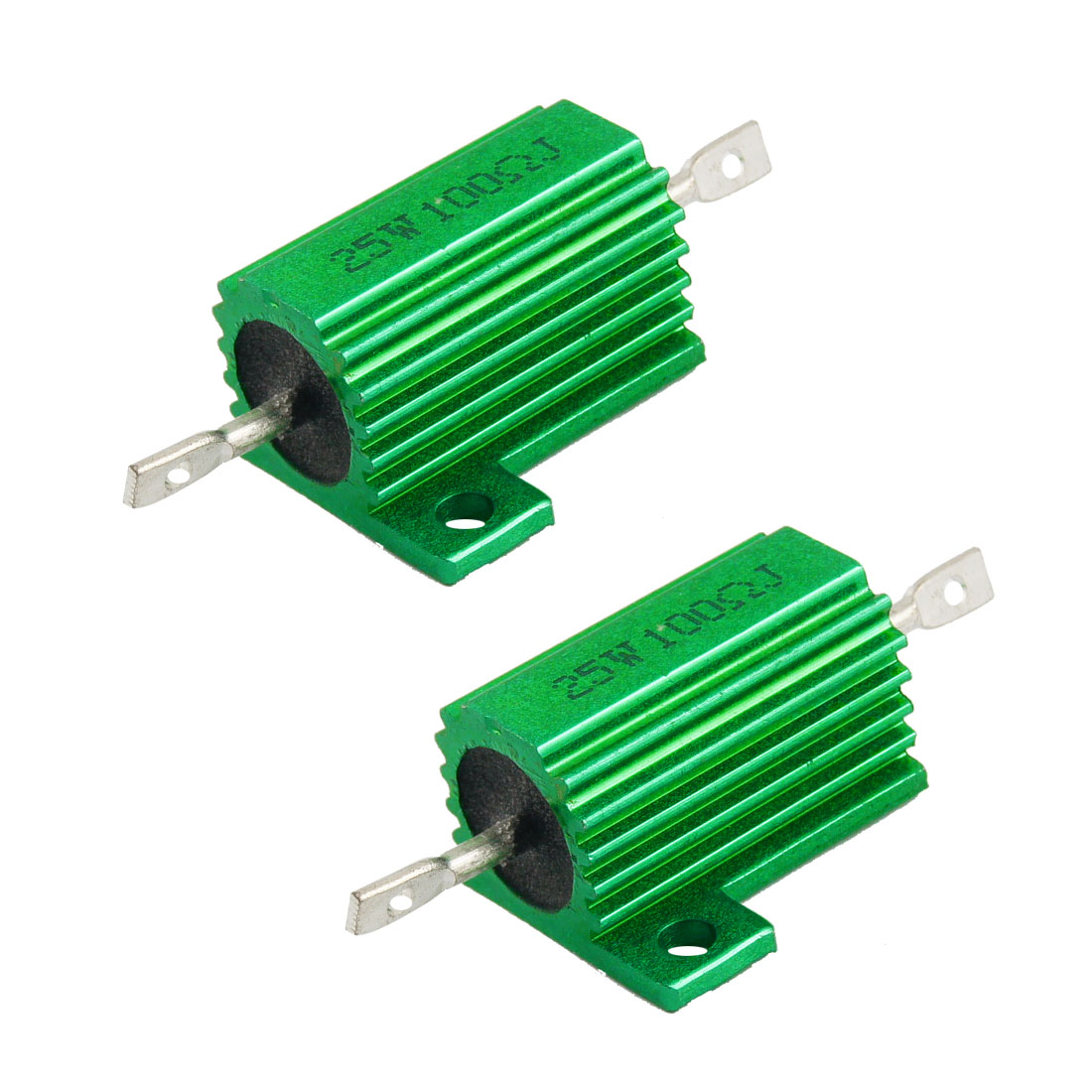 25W 100 Ohm Green Aluminum Housed Wirewound Resistors 2 Pcs