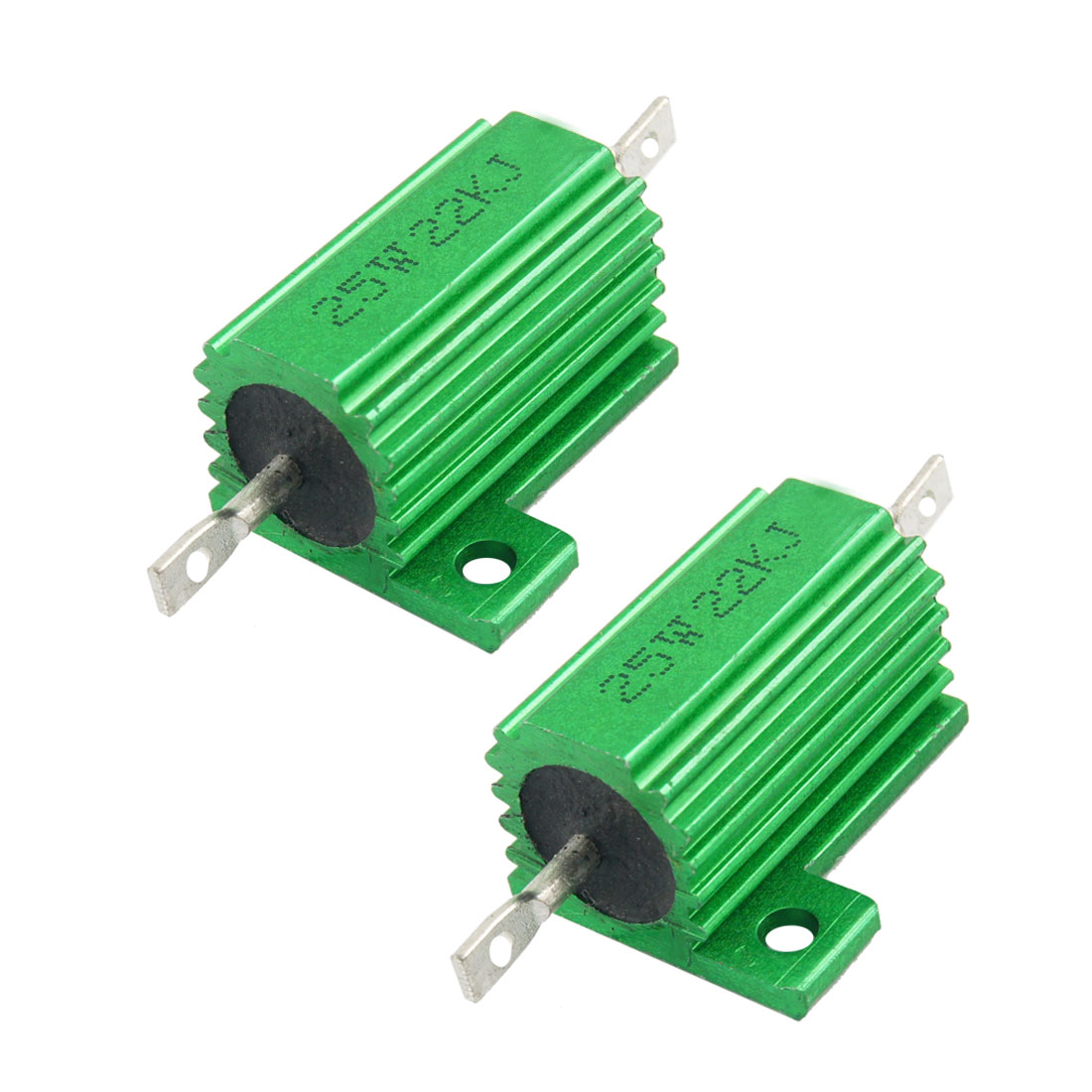 25W 22K Ohm Green Aluminum Housed Wirewound Resistors 2 Pcs