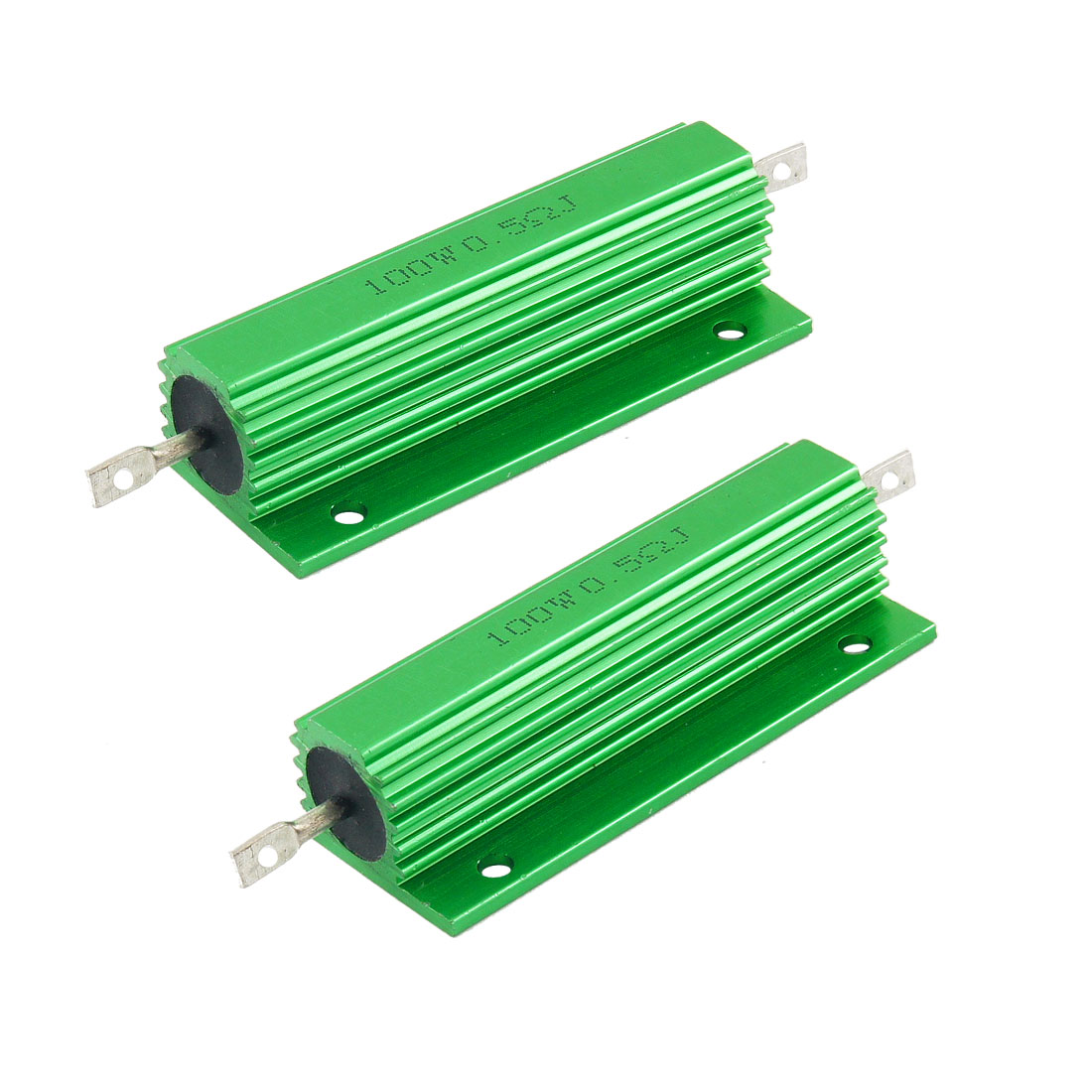 100W 0.5 Ohm Green Aluminum Housed Wirewound Resistors 2 Pcs