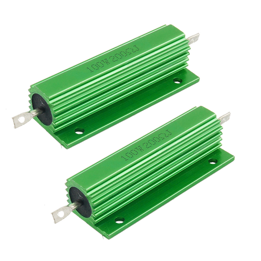 100W 200 Ohm Green Aluminum Housed Wirewound Resistors 2 Pcs