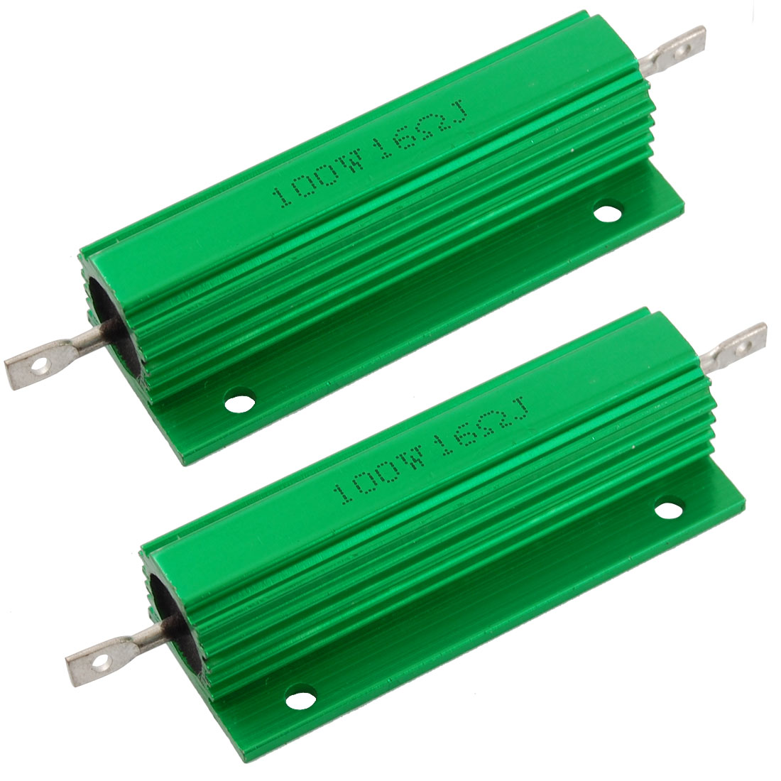 2 Pcs Green 100 Watt 16 Ohm 5% Aluminum Shell Wire Wound Resistors