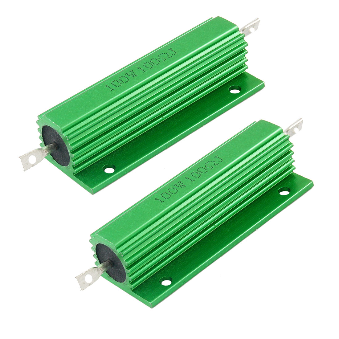 100W 100 Ohm Green Aluminum Housed Wirewound Resistors 2 Pcs