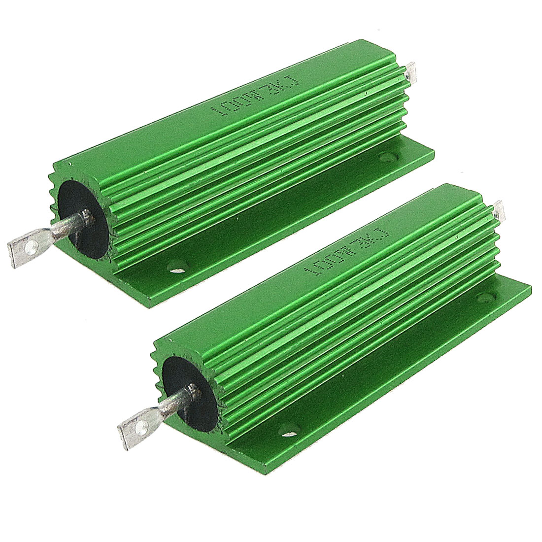 2 Pcs Chasis Mounted Green Aluminum Clad Wirewound Resistors 100W 3K Ohm 5%