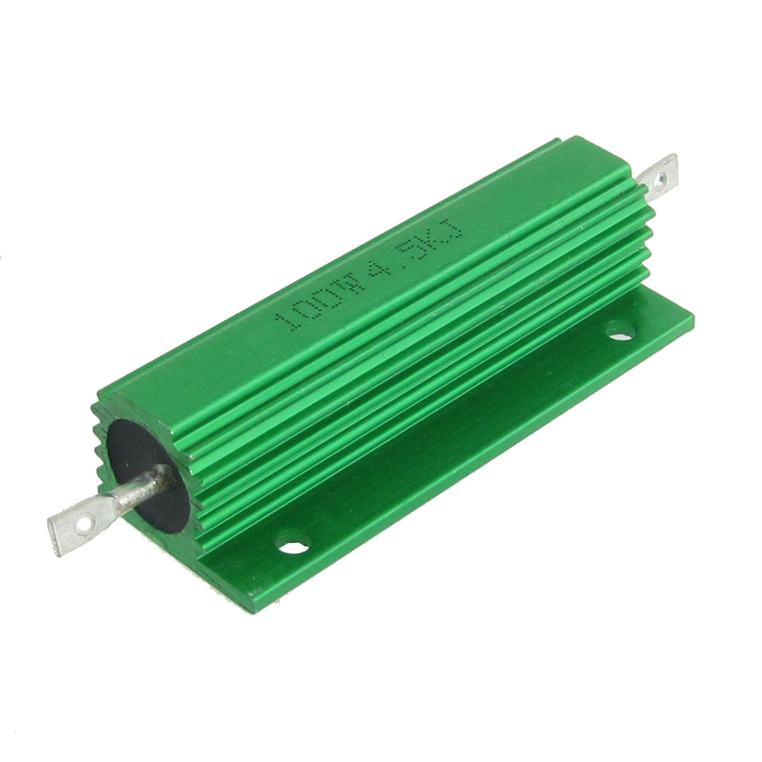 2 Pcs Chasis Mounted Green Aluminum Clad Wirewound Resistors 100W 4.5K Ohm 5%