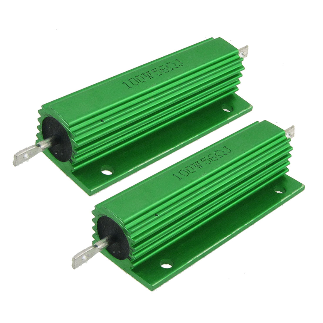 2 Pcs Chasis Mounted Green Aluminum Clad Wirewound Resistors 100W 56 Ohm 5%