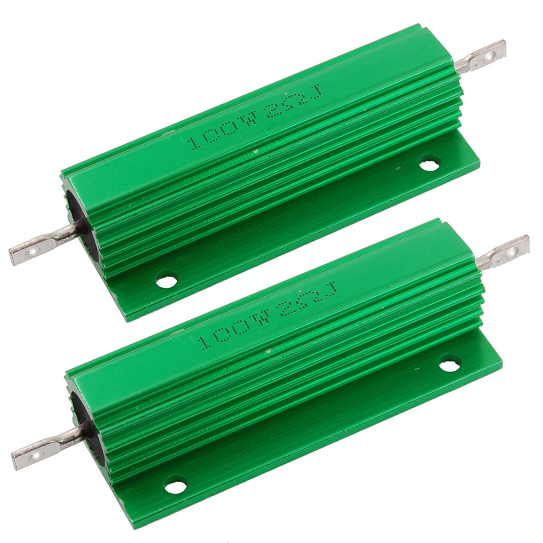 2 x Chassis Mounted 100W 2 Ohm 5% Aluminum Case Wirewound Resistors