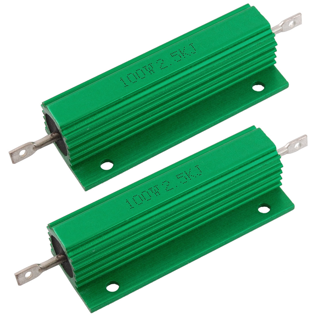 2 Pcs Green 100 Watt 2.5K Ohm 5% Aluminum Shell Wire Wound Resistors