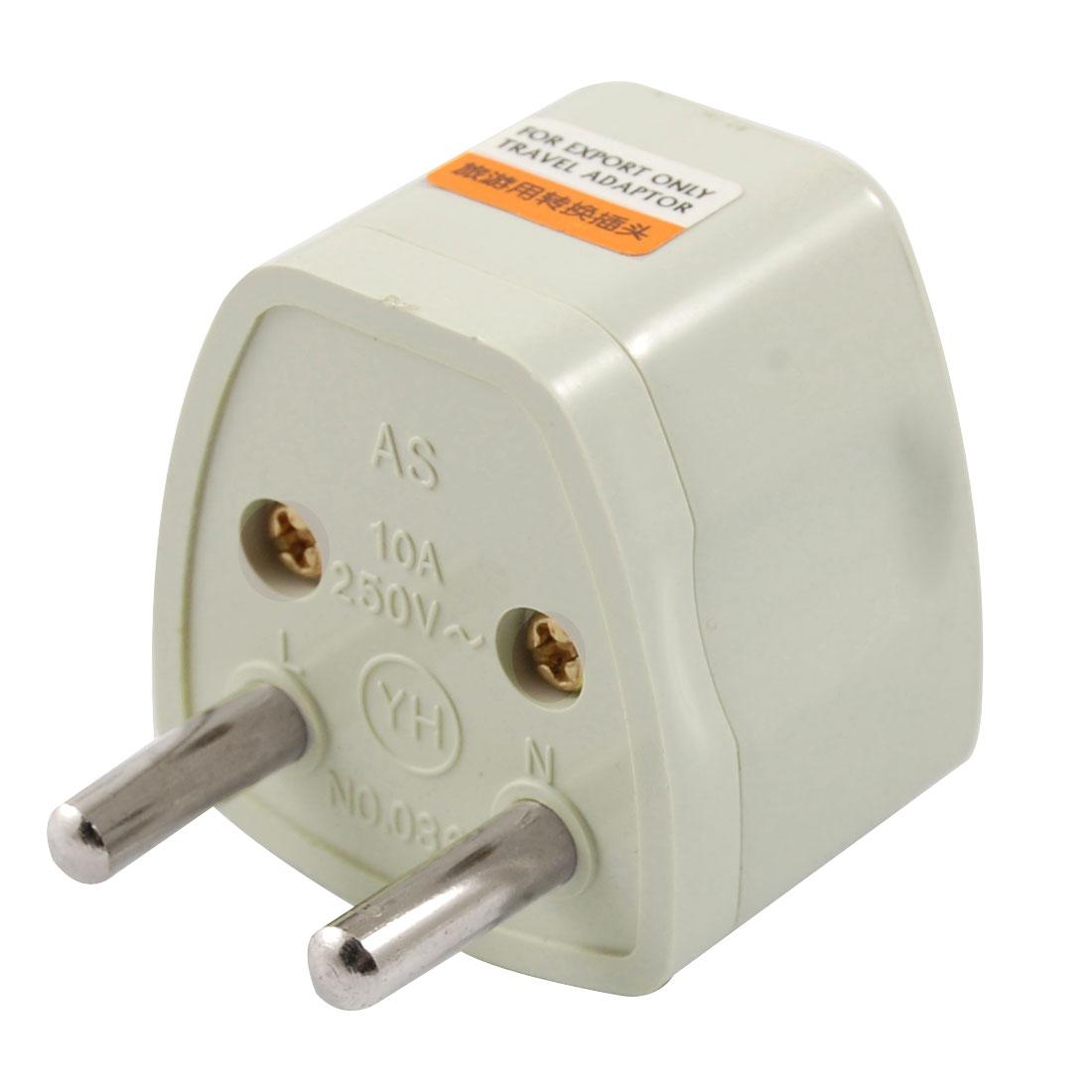 Travel UK US AU Socket to EU 2 Round Pin Plug Adapter AC 250V 10A