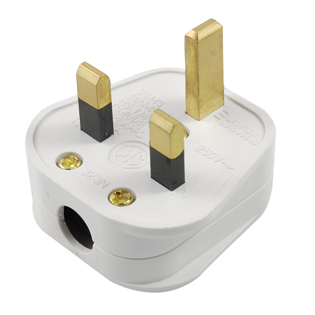 UK Plug AC 250V 13A White Plastic Shell Power Adapter