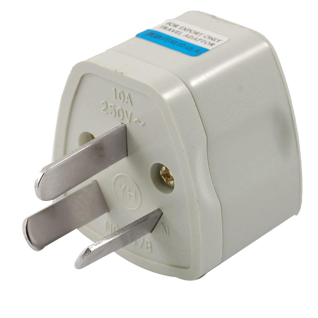 AC 250V 10A Travel AU 3 Pole Plug to EU UK US Socket Power Adapter