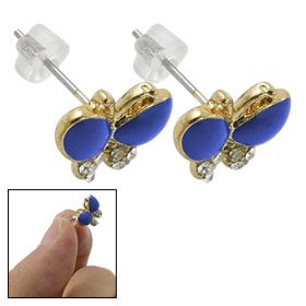 Pair Blue Crystal Inlaying Butterfly Shape Screw Back Earrings for Women