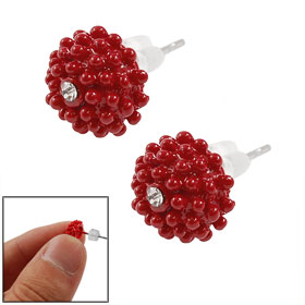 Women Lady Pair Rhinestone Inlaid Round Floral Shaped Red Studs Earrings