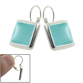 Lady Teal Blue Metal Square Shaped Pierced Clip Earrings Pair