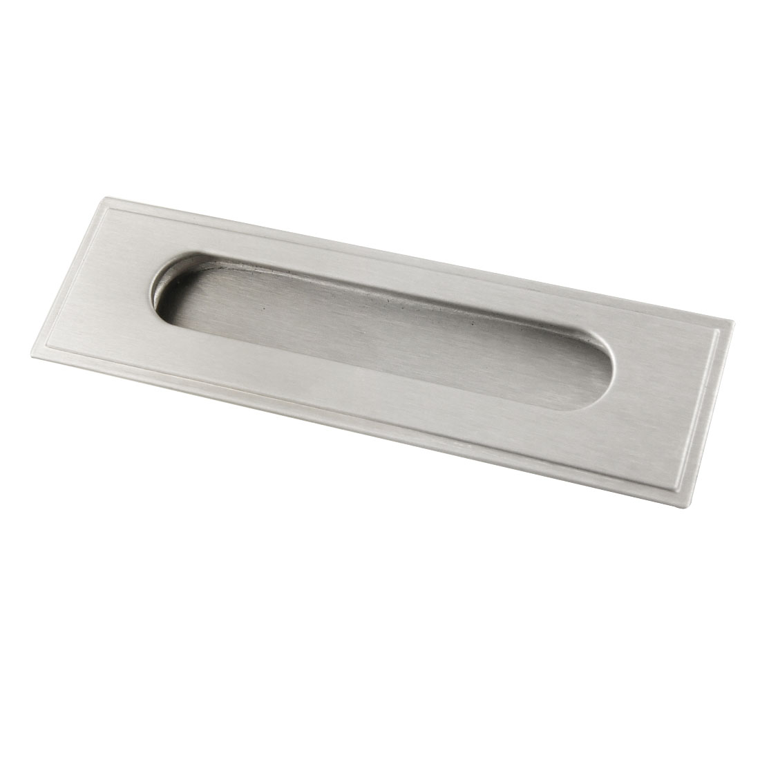 "Rectangle Door Cabinet Drawer Flush Pull Handle Silver Tone 5.5"" Length"